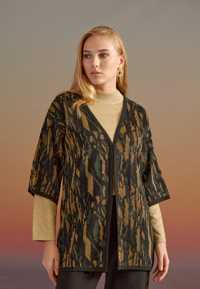 LIMITED EDITION: KNITWEAR KIMONO JACKET IN ROYAL EMERALD AND GOLD