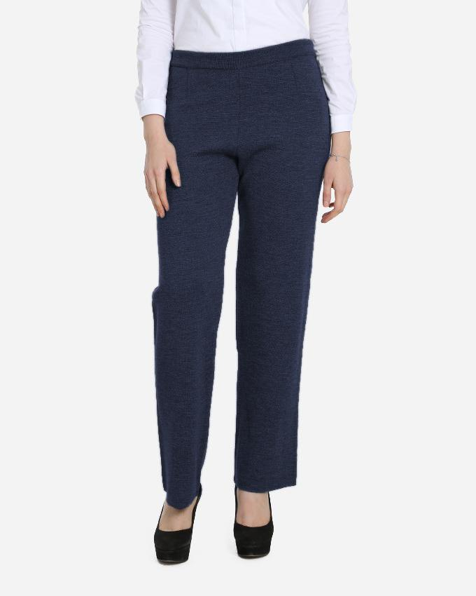KNITWEAR EXTRA FINE MERINO WOOL PANTS WITH ELASTIC WAIST FOR EXTRA COMFORT