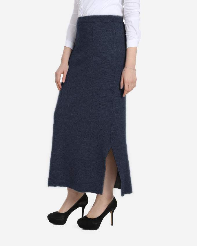 KNITWEAR EXTRA FINE MERINO WOOL SKIRT WITH ELASTIC WAIST FOR EXTRA COMFORT