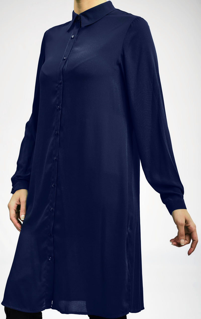BASIC LONG CREPE CHIFFON SHIRT WITH HIDDEN PLACKET AND SIDE SLITS