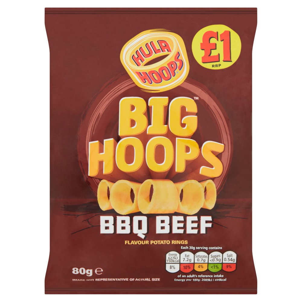 Hula Hoops Big Hoops BBQ Beef Flavour Potato Rings 80g