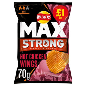Walkers Max Strong Hot Chicken Wings Crisps £1 PMP 70g