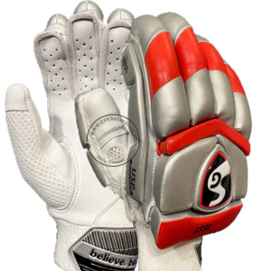 SG Cricket  SG TEST CRICKET BATTING GLOVES SILVER RED MENS SIZE RIGHT AND LEFT HANDED
