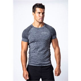 Maximuscle Mens Melange Short Sleeve T-Shirt Grey, Red