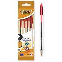 BIC Cristal Original Ballpoint Pens Medium Point (1.0 mm) – Red, Pouch of 4 - First Class Learning Bradford