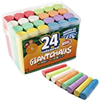Kids B Crafty 24 Giant Bright Coloured Chalks Chunky Pavement Washable Fun For Children - First Class Learning Bradford