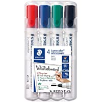 STAEDTLER 351 WP4 Lumocolour Whiteboard Marker with Bullet Tip, Multicolour, Pack of 4 - First Class Learning Bradford