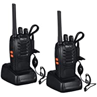2PCS Walkie Talkie Rechargeable Walkie Talkies Long Range 16CH Two Way Radio Set Walky Talky with Earpieces Handheld Transceiver with LED Light for Adult Field Survival Camping Hiking Communication - First Class Learning Bradford
