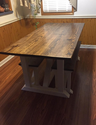 custom solid wood farmhouse dining room table