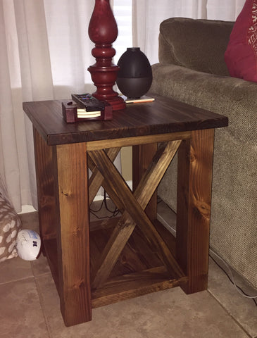 solid wood stained end table