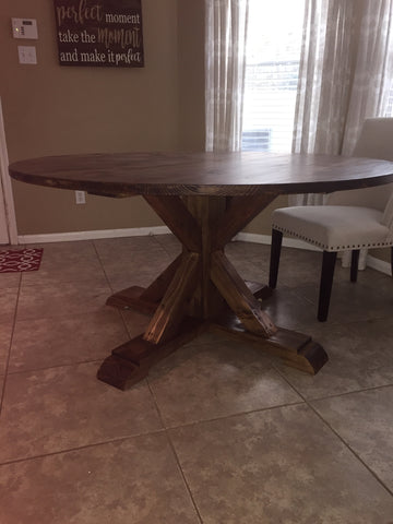 Solid wood stained round dining table