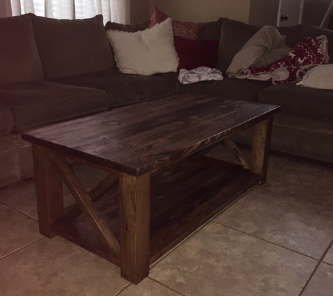 Solid wood stained coffee table