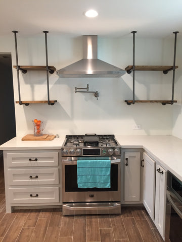 custom, solid wood, white cabinets with open shelving
