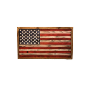 Framed American Flag - Rustic is an American flag made of wood that is burned and colored with tinted stain. Finished with a wood frame.