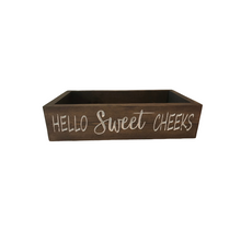 Load image into Gallery viewer, Bathroom storage is a back of the toilet storage box that says Hello Sweet Cheeks