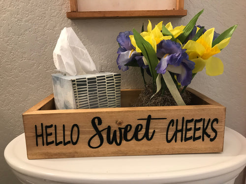 Bathroom storage is a back of the toilet storage box that says Hello Sweet Cheeks