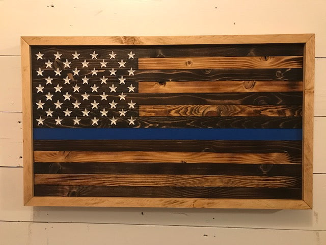 Framed American Flag | Thin Blue Line