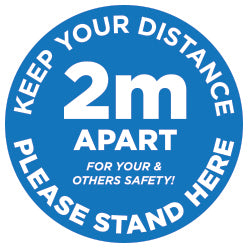 2M Apart - Keep your distance - Please Stand Here - Blue - Virus Safety