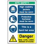 Multi Message Site Safety Sign- CONS0014 - Virus Safety