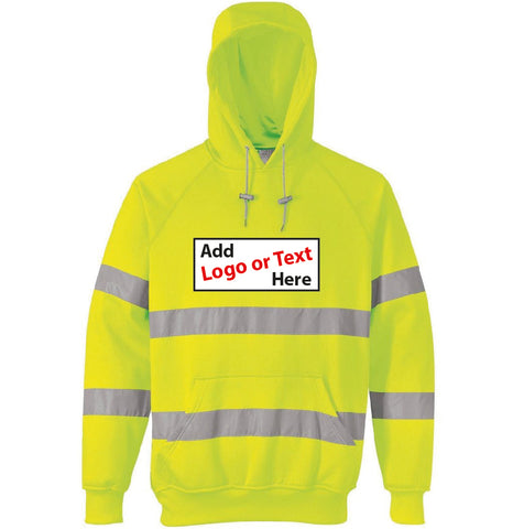 HI VIS Yellow or Orange Hoodie -  With your logo on front only ! - Virus Safety