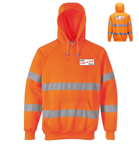 HI VIS Yellow or Orange Hoodie -  With your logo on front & back ! - Virus Safety