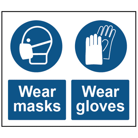 Wear Gloves - Wear Mask Mandatory Safety Sign - Virus Safety