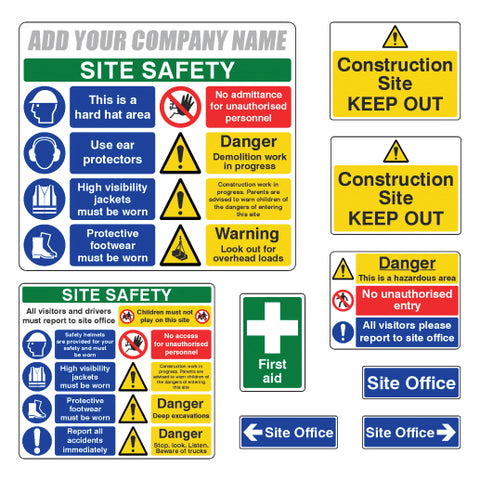 Construction Site Safety Sign Complete Pack 1 with Company Name - Virus Safety
