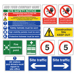 Construction Site Safety Sign Complete Pack 2 with Company Name - Virus Safety