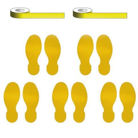 Social Distancing - Marking Tape & Footprint Kit - 10 Pack - Virus Safety
