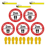 Social Distancing - Please Stand 2m Apart Floor Sign & Footprint Kit - 10 Pack - Virus Safety