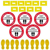 Social Distancing -  Floor Sign Kit - 10 Pack - Virus Safety
