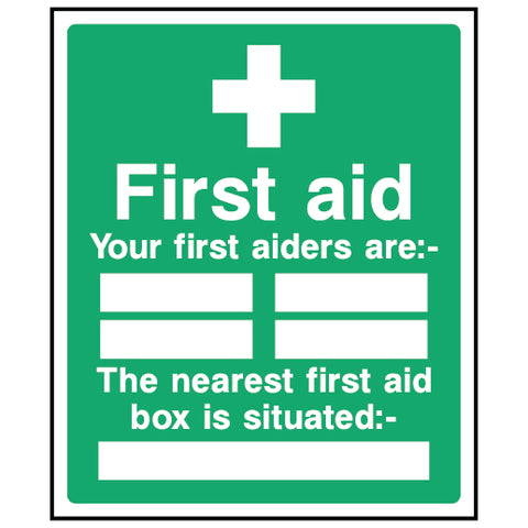 First aid - Your first aiders are - The nearest first aid box - FAID0004 - Virus Safety