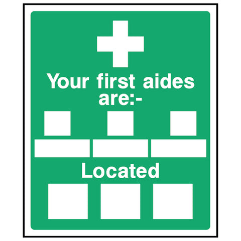 Your first aiders are:- Located - FAID0009 - Virus Safety