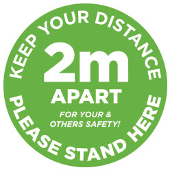 2m Apart - Keep your distance - Please Stand Here - Green - Virus Safety