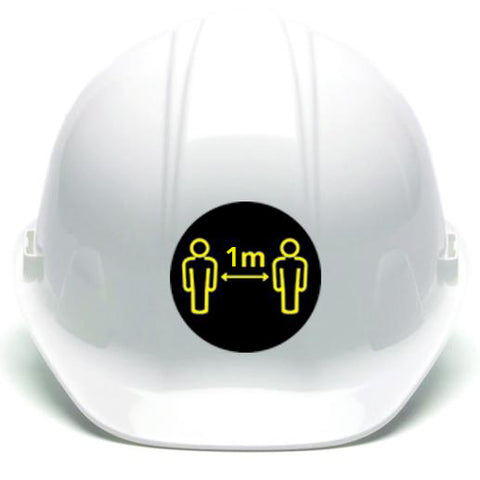 30 Hard Hat Stickers - Social Distancing - 1m 60mm - Virus Safety