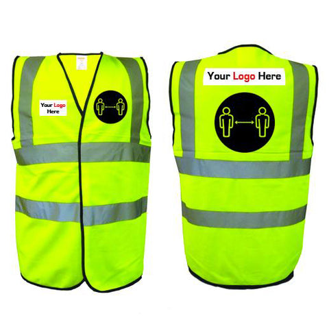 HI VIS VEST - Social distancing awareness - With your logo! - Virus Safety