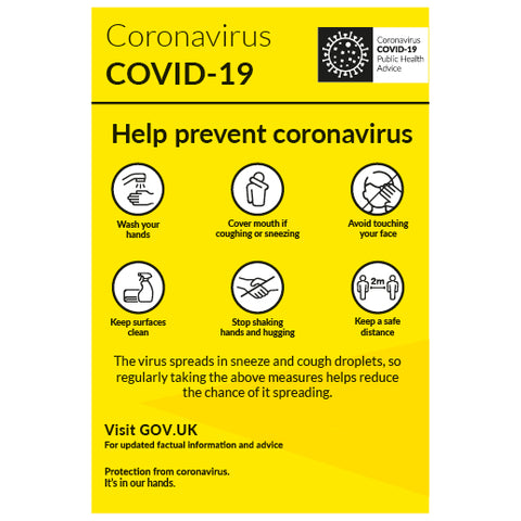 Help prevent coronavirus notice - 2m keep your distance. - Virus Safety