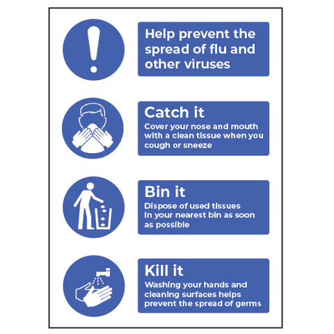HELP PREVENT THE SPREAD OF FLU SIGN - Virus Safety
