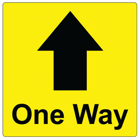 200mm x 200mm- One Way - Graphic - Yellow - Virus Safety