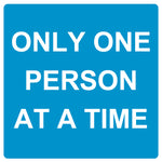 Only one person at a time - Graphic - Blue - Virus Safety