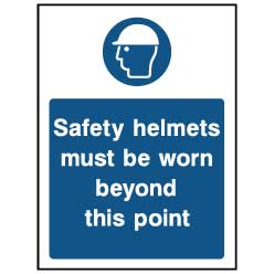 Safety helmets must be worn beyond this point - PPE0039 - Virus Safety