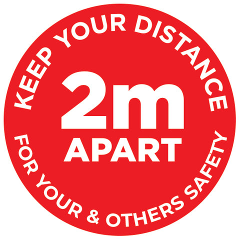 2m Apart - Keep your distance - Please Stand Here - Red - Virus Safety