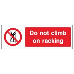 Do not climb on racking- ACCE0009 - Virus Safety