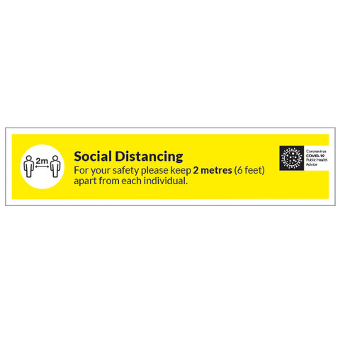 Social Distancing - 2m apart - 1000mm x 300mm - Virus Safety