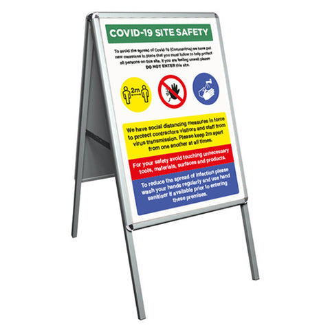Covid-19 Site Safety A-Board - Virus Safety