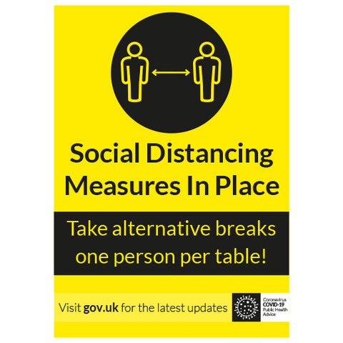 Take alternative breaks one person per table! - keep your distance - Virus Safety