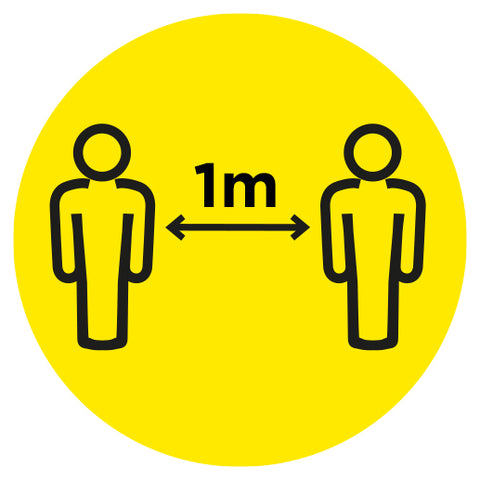 1m Apart - Keep your distance Yellow - Virus Safety