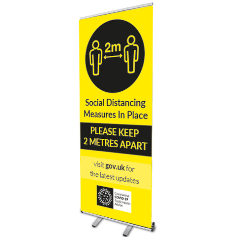2m keep distance - Social distancing measures in place. Roll Up Banner - Virus Safety