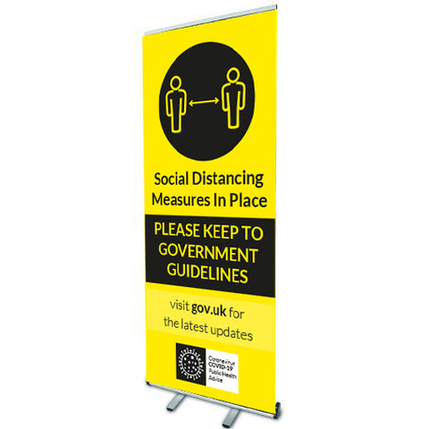 keep distance - Social distancing measures in place. Roll Up Banner - Virus Safety