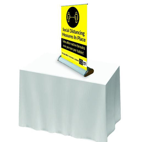 keep distance - One person per table. Table Roll Up Banner - Virus Safety